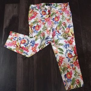 Jessica Multi Floral Ankle Crop pants Size 12